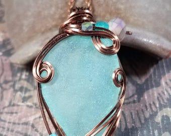 Aqua Sea Glass Pendant Antiqued Copper Wire Wrapped