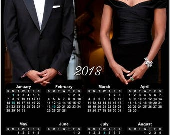 """Michelle and Barack Obama 2018 Full Year View 8"""" Calendar - Magnet or Wall #3853"""