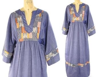 60s Hippie Maxi Dress Vintage 1960s Bohemian Long Ethnic Caftan Floor Length Blue Chambray Angel Sleeve Gypsy Festival Dress Medium Large
