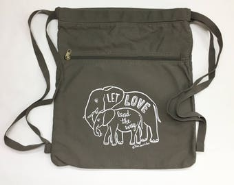 Elephant Love Back Pack-Cinch Sack-Screen Printed Cotton Canvas, Baby Elephant, Back to School Supplies, Viva Sweet Love