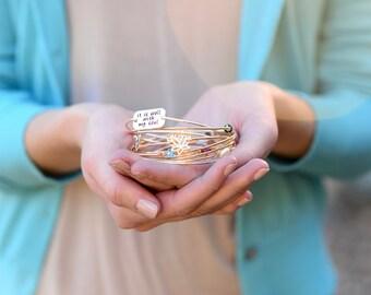 It Is Well With My Soul Bracelet, Bangle Bracelet, Inspirational Jewelry, Personalized Bracelet, Christian Jewelry