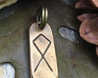 Othala Rune, Nordic Runes, Bronze Rune Pendant, Viking Runes, Rune Charms, Rune Jewelry, Nordic Jewelry, Elder Futhark, Viking Jewelry, Rune