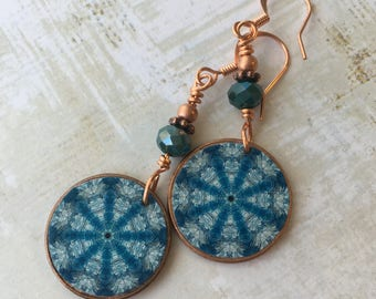 Blue feathery mandala fine art and copper earrings, original art, pennies, blue faceted beads, colorful, spiritual, vibrant, yoga jewelry