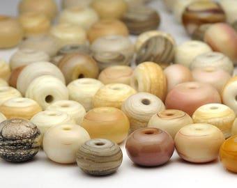 Handmade Lampwork Glass Bead Spacers Sale Destash Ivory Earth Tone Mix 70 Beads SRA