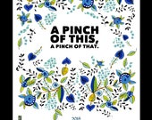 "Judy Kahooti Design...""A Pinch of This, A Pinch of That"" Linen/Cotton Kitchen Towel...Collectible"