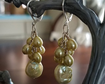 Avocado Green Freshwater Teardrop Cluster and Coin Earrings