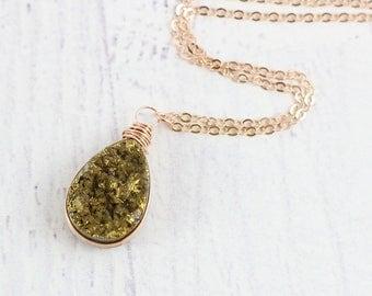 Dark Gold Druzy Necklace, Druzy Necklace, Rose Gold Necklace, Druzy Necklace Rose Gold, Teardrop Pendant Necklace, Bridesmaid Necklace