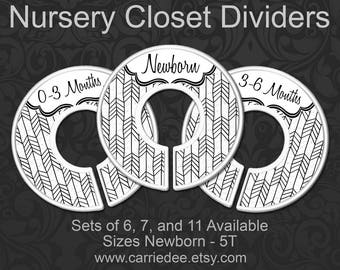 Nursery Closet Dividers, Black and White Arrow Baby, Clothes Organizers, Baby Shower Gift, Gender Neutral - Black on White Herringbone