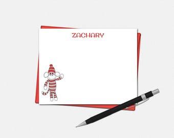 Sock Monkey Note Cards - Personalized Sock Monkey Flat Note Cards - Personalized Stationery for Kids - Sock Monkey Note Card