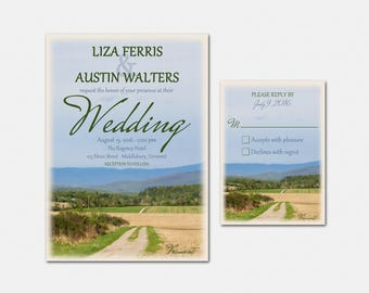 Vermont Wedding Invitation Suite - Vermont Wedding Invitations - Printable - Rustic Wedding Invitation Set - Vermont Wedding Invitation Set