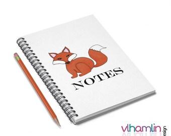 Fox Notebook - Fox Spiral Notebook-  Fox Notes - Fox Gifts - Spiral Notebook - Lined Notebook