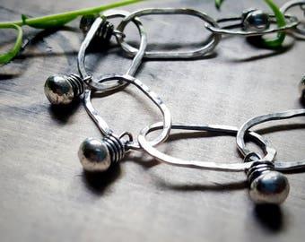 Sterling Silver Link Bracelet - Beaded Sterling Silver Bracelet - Wire Wrapped Bracelet - Hammered Silver Bracelet -  Gifts For Her