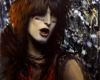 "ORIGINAL Nikki Sixx painting, 18x24"", oil on canvas, Motley Crue"