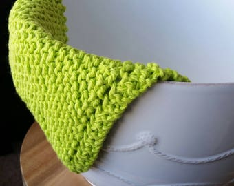 Cotton Dishcloth - Lime Green
