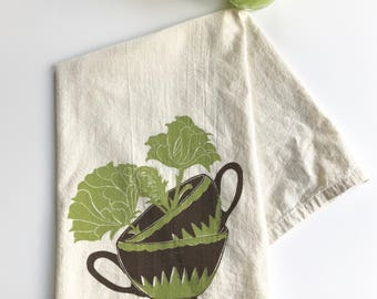 Teacup and Flowers Two Color Block Printed 100% cotton Flour Sack Towel- Original Design-Tea Lover Gift- Coffee Drinker Gift