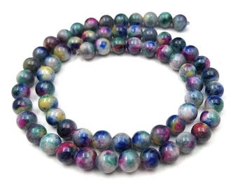 Dark Jewel Tones Jade Beads 6MM rain flower rainflower blue, green, fuchsia, yellow (H2586)