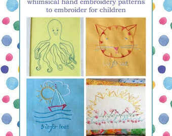 Alphabet Hand Embroidery Pattern Book Farm Animals Pig Frog Fish Bears