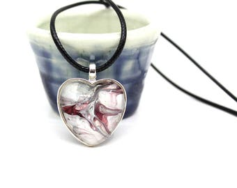 Heart Made with Paint Pendant in Red, White, and Grey