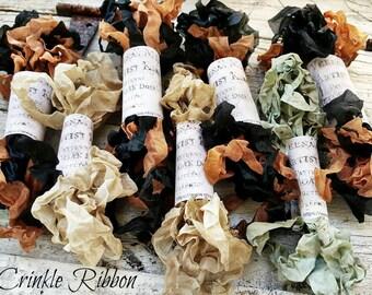 Crinkle Ribbon Dirty White Robins Egg Halloween Black Orange Primitive Dirtied Vintage Hand Dyed Kim Kohler Veenas Mercantile Supply
