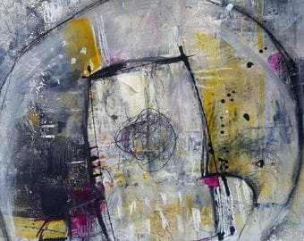 """Gritty Modern Abstract Painting 12 x 16   on hardboard  """"Open Doors""""  by artist and author Jodi Ohl"""