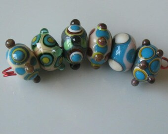 Handmade glass beads-lampwork beads-loose beads-set of six lampwork beads-SRA-glass blowing glass art