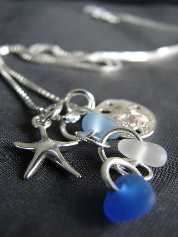 Ocean sea glass cluster necklace in shades of blue and white
