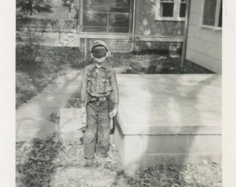 vintage photo 1949 Mike Ready for Party Mask Boy Masquerade Eerie Shadow Abstract