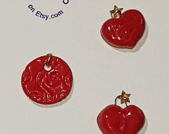 2 Hearts 1 Disc Deep Red Charm Beads