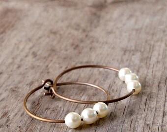 Titanium Hoop Earrings - Hypoallergenic Hoop Earrings - Hypoallergenic Pearl Earrings - Titanium Earrings - Vintage Style Earrings