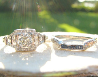 Art Deco Diamond Engagement Ring with Optional Fitted Wedding Band, VS1 Old European Cut Diamond, Beautiful Platinum Design, GIA Appraisal