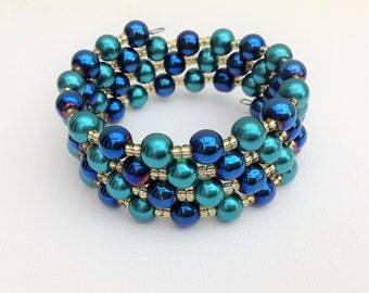 Pearl Wrap Bracelet, Blue and Teal Beaded Bracelet, Memory Wire Bracelet, Cuff Bracelet, Chunky Bracelet, Blue Bracelet, Peacock Colours