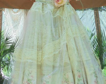Floral sparkle dress wedding lace   tulle romantic boho outdoor bride small   by vintage opulence on Etsy
