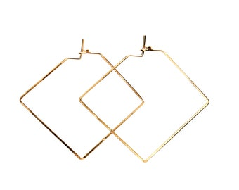 Hammered Square Hoop Earrings - Diamond Shape - Sterling Silver, Gold, Rose Gold