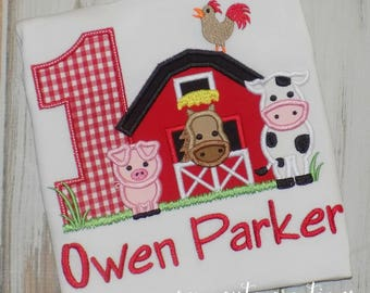Farm birthday shirt, Barn birthday shirt, Farm Animal birthday shirt, Farm Birthday outfit, girl shirt, boy shirt, sew cute creations