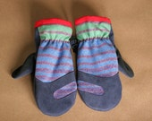 Wool and Leather Mitten | Trail Mitt | Blue Suede Deerskin and Blue Green Pendleton Stripe
