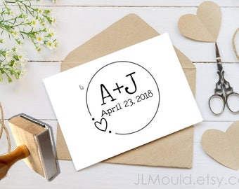 0354 JLMould Custom Personalized Wedding True Love Engagement Modern Heart Love Storefront Rubber Stamp with your Logo or Website Branding