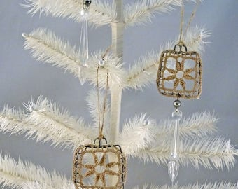 CHRISTMAS ORNAMENTS - set of 3 - vintage crochet - medallions - Boho - elegant - NO084