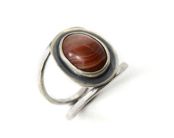 Handmade Lake Superior Agate Sterling Silver Double Band Ring Size 6.25