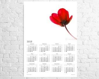 Wall Calendar 2018 with pure red tulip A3 poster calendar True love wall art Flower calendar Floral wall art Christmas gift idea