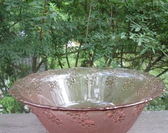 Beautiful Vintage Pink Glass Bowl - Large Textured Glass Bowl - Pink Grapes/ Leaves - Depression Glass Fruit Bowl