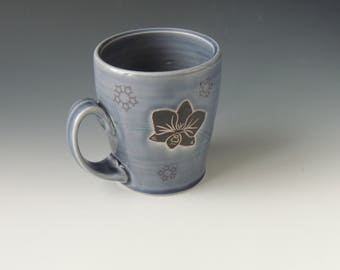 Ceramic Orchid Mug - purple gray porcelain clay cup with flower and wifi decal - handmade wheel thrown pottery