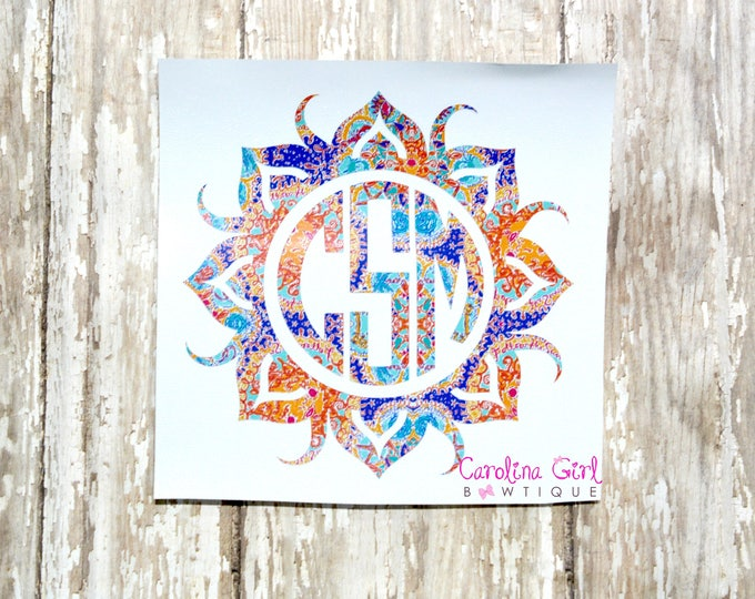 Lilly Pulitzer Inspired Monogram Sun Decal ~ Yeti Decal ~ Lilly Car Decal ~ Lilly Decal ~ Lilly Sticker