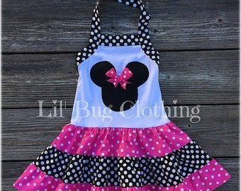 Minnie Mouse Dress, Minnie Mouse Girl Clothes, Minnie Mouse Pink Black Polka Dot Dress, Minnie Mouse Birthday Dress
