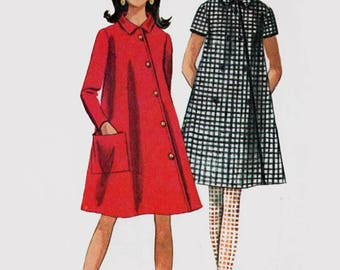 Vintage 1960 Misses MOD Coat Dress Asymmetrical closing Sewing Pattern Simplicity 7325 60s Madmen Pattern Size 10 Bust 31