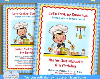 Cooking invitation - Cooking party -  boy cook baking Chef birthday invite - brown Hair boy - INSTANT DOWNLOAD P-69 - with editable text
