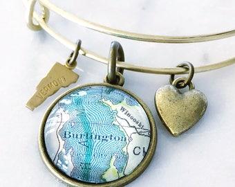 Burlington Map Charm Bracelet - Burlington Bracelet - Burlington Charm Bracelet - Travel Bracelet - Vermont Bracelet