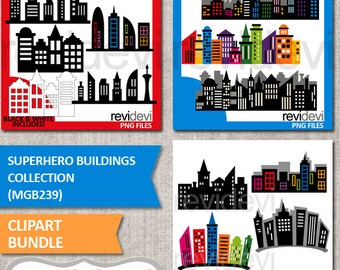 Commercial use superhero clipart / superhero buildings collection clip art bundle / skyscraper city building skyline / digital images