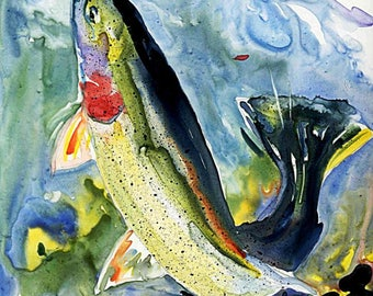 Cutthroat Trout Fly Fishing Watercolor painting on YUPO paper fish art print Cottage Lake House Decor Fisherman Gift by Barry Singer