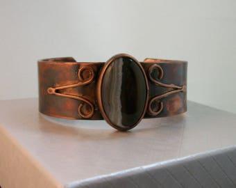 Rustic copper bracelet with multi color agate cabochon - copper jewelry - hand forged copper cuff - agate bracelet, MEDIUM
