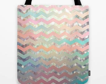 geometric design fabric tote bag-pastel colors-chevron-cute school carry all bag-market tote-gift idea for Christmas-pink-green-orange